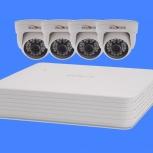 Комплект видеонаблюдения 4 внутренние камеры 2мп, Краснодар