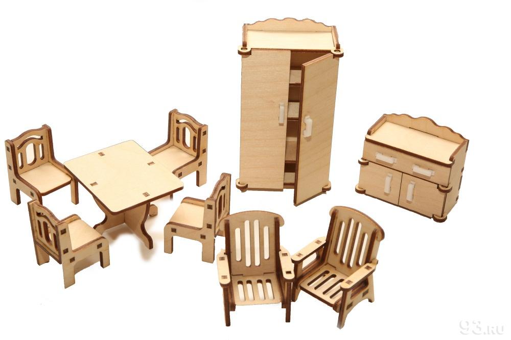Купить деревянный кукольный домик с мебелью недорого